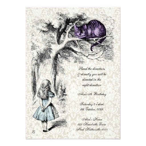 Alice in Wonderland Cheshire Tea Party Birthday Personalized Invites