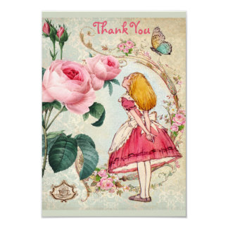 Alice in Wonderland Collage Thank You Baby Shower 9 Cm X 13 Cm Invitation Card