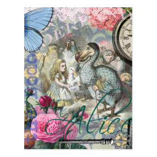 Alice in Wonderland Dodo Bird Collage Postcard