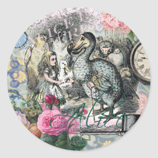 Alice in Wonderland Dodo  Vintage Pretty Collage Classic Round Sticker
