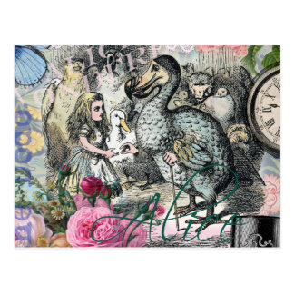 Alice in Wonderland Dodo  Vintage Pretty Collage Postcard