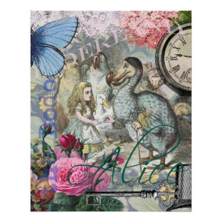 Alice in Wonderland Dodo  Vintage Pretty Collage Poster