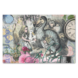 Alice in Wonderland Dodo  Vintage Pretty Collage Tissue Paper