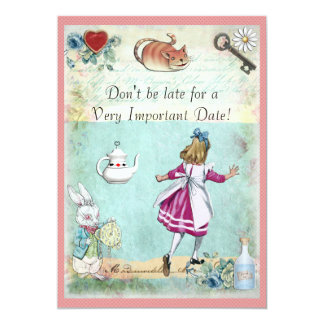 Alice in Wonderland Don't Be Late Birthday 13 Cm X 18 Cm Invitation Card