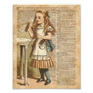 Alice In Wonderland Drink Me Vintage Book Page Art Photo