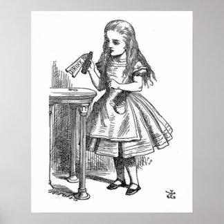 Alice in Wonderland Drink Me vintage goth print