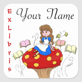 Alice in Wonderland Ex Libris book label