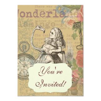 Alice in Wonderland Flamingo Mad Tea Party Card