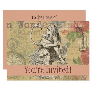 Alice in Wonderland Flamingo Mad Tea Party Custom Card