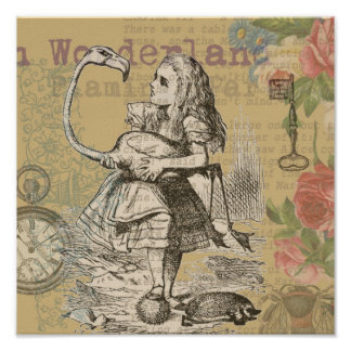 Alice in Wonderland Flamingo Posters