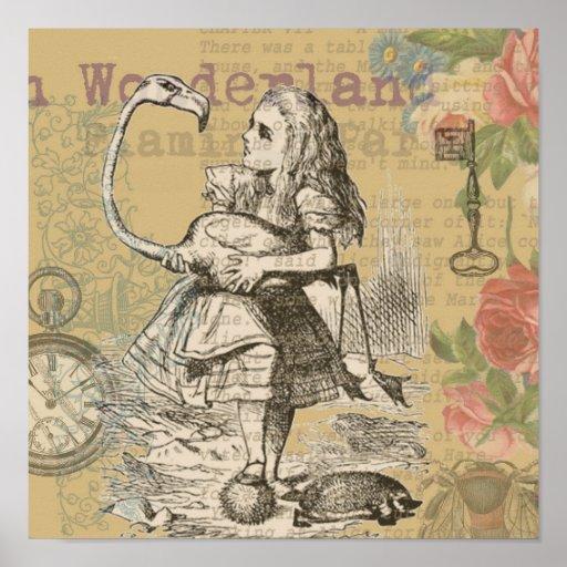 Alice in Wonderland Flamingo Posters