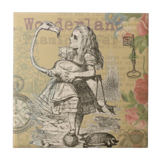 Alice in Wonderland Flamingo Vintage Ceramic Tile