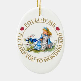 Alice In Wonderland - Follow Me Ceramic Ornament