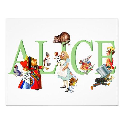 ALICE IN WONDERLAND & FRIENDS PERSONALIZED INVITATIONS
