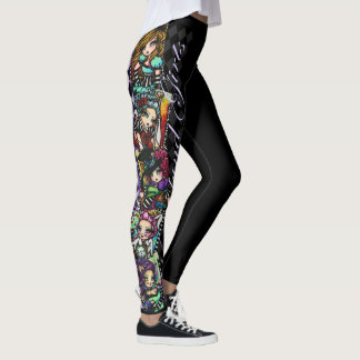 Alice in Wonderland Girls Mad Hatter Cheshire Cat Leggings