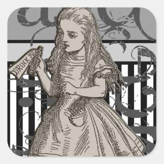 Alice In Wonderland Grunge Square Stickers