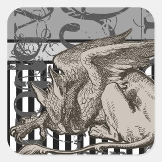 Alice In Wonderland Gryphon Grunge Square Sticker