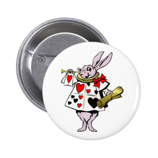 Alice in Wonderland Hare, Card and trumpet - Tale 6 Cm Round Badge