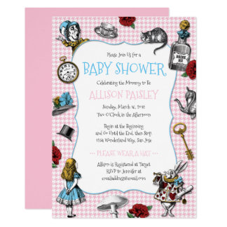Alice in Wonderland Houndstooth Baby Shower Card