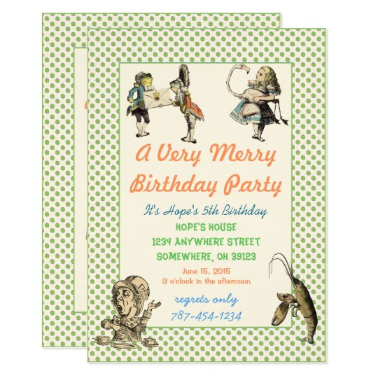 Alice In Wonderland Invitation  Birthday Party