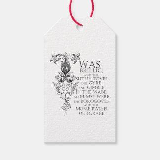 Alice In Wonderland Jabberwocky Poem Gift Tags