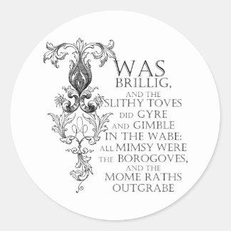 Alice In Wonderland Jabberwocky Poem Round Sticker
