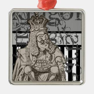 Alice In Wonderland King of Hearts Grunge Metal Ornament