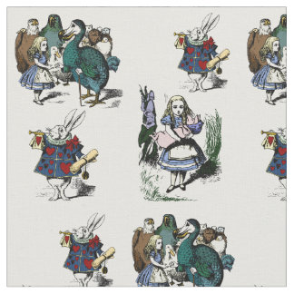 Alice in Wonderland Looking Glass White Rabbit Fabric
