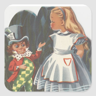 Alice In Wonderland & Mad Hatter Square Sticker