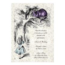 Alice in Wonderland Mad Hatters Tea Party Birthday Personalised Invitations