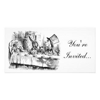Alice In Wonderland Mad Tea Party Invitation Custom Photo Card