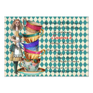 Alice In Wonderland Party Invitation Aqua
