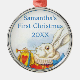 Alice in Wonderland Personalized First Christmas Metal Ornament
