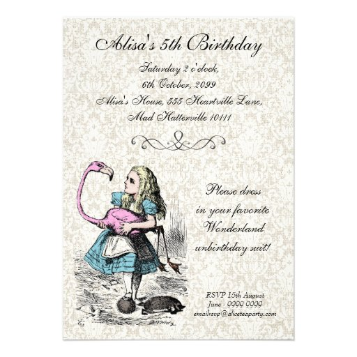 Alice in Wonderland Pink Flamingo Birthday Party Announcements
