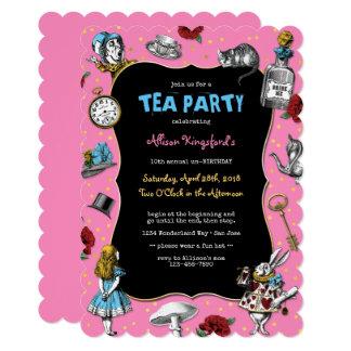 Alice in Wonderland Pink Tea Party Card