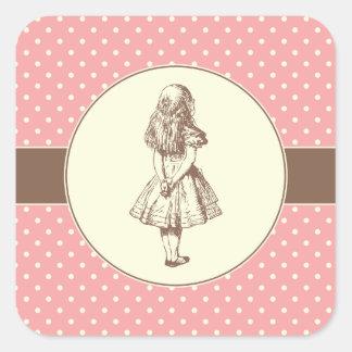 Alice in Wonderland Polka Dots Square Sticker