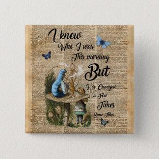 Alice in Wonderland Quote Vintage Dictionary Art 15 Cm Square Badge