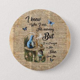 Alice in Wonderland Quote Vintage Dictionary Art 7.5 Cm Round Badge