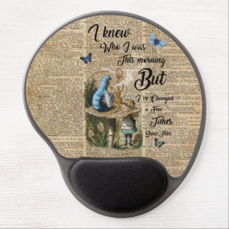 Alice in Wonderland Quote Vintage Dictionary Art Gel Mouse Pad