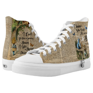 Alice in Wonderland Quote Vintage Dictionary Art High Tops