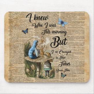Alice in Wonderland Quote Vintage Dictionary Art Mouse Pad