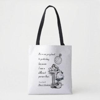 Alice in Wonderland Quotes Tote Bag