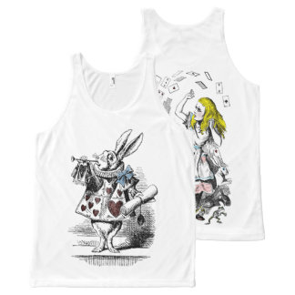 Alice in Wonderland Rabbit Deck of Cards All-Over Print Singlet