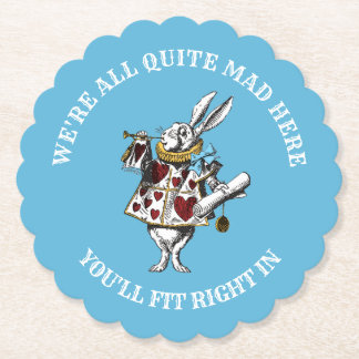 Alice in Wonderland Rabbit with Mad Quote Paper Coaster