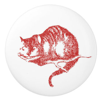 Alice in Wonderland Red Cheshire Cat Knob