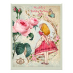 Alice in Wonderland Roses Collage Birthday Party Personalized Announcements