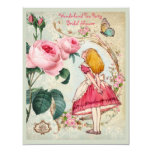 Alice in Wonderland Roses Collage Bridal Shower Personalised Invitations