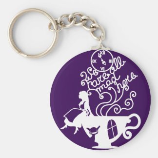 Alice in Wonderland. Silhouette illustration Basic Round Button Key Ring