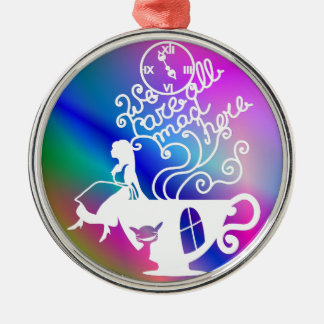 Alice in Wonderland. Silhouette illustration Silver-Colored Round Decoration