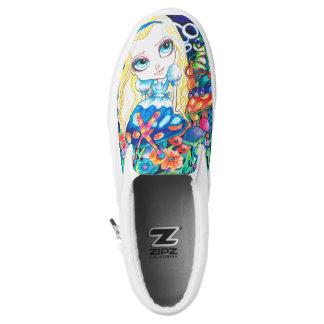 Alice In Wonderland Slip On Printed Shoes